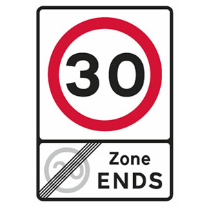 End of 20 mph zone and start of 30 mph speed limit sign
