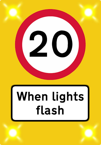 20 mph when lights flash sign