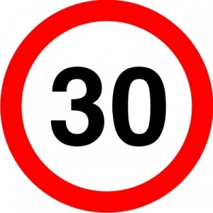 Mandatory speed limit sign