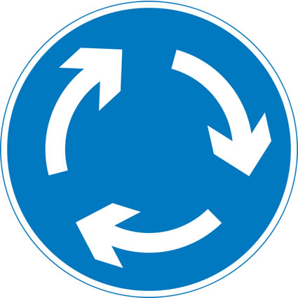 UK mini roundabout sign