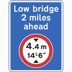 Advanced warning of height restriction sign