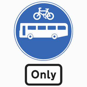 Route or lane for buses or cycles only