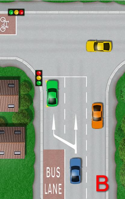 Bus lane ends at junction road markings