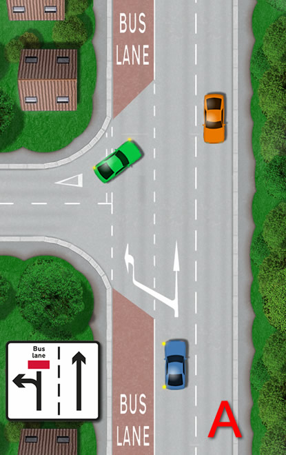 Turning left across a bus lane road markings