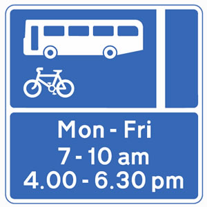 Bus lane with hours of operation sign