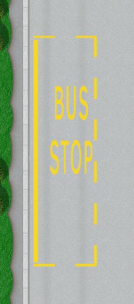 Bus stop road markings