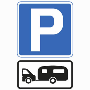 Car and caravan or motor caravan parking sign