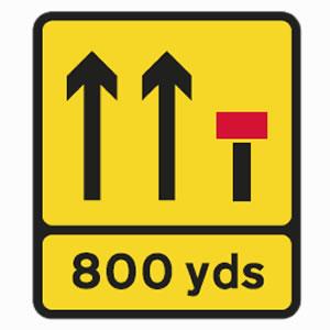 Lane closed road sign