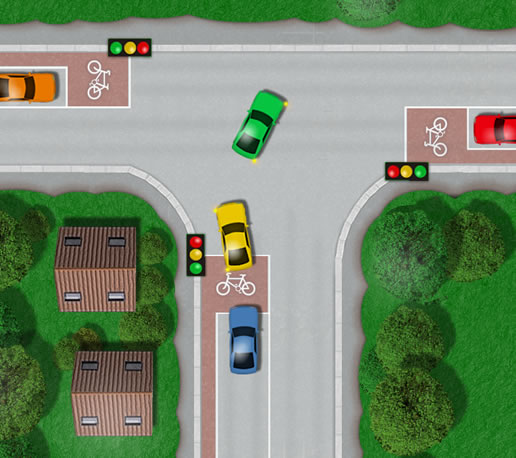 Controlled junction with traffic lights