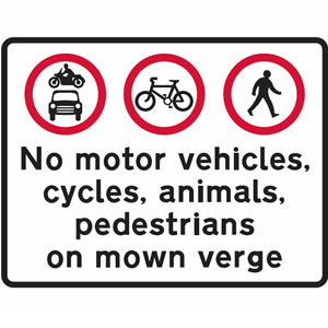 Do not use verge road sign