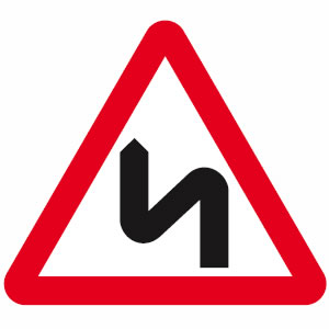 Bends in road sign