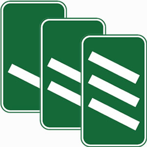 Dual carriageway junction exit sign