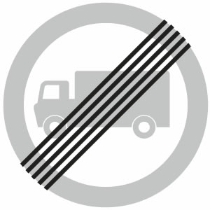 End of goods vehicles restriction sign