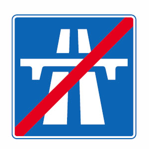End of motorway sign