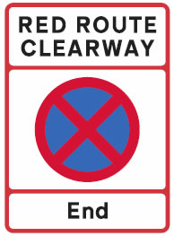 End of red route sign