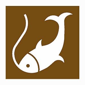 Fishing road sign symbol