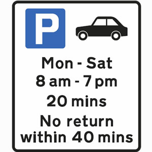Free parking for cars only between Monday and Saturday, between 8am and 7pm and for a maximum of 20 minutes sign