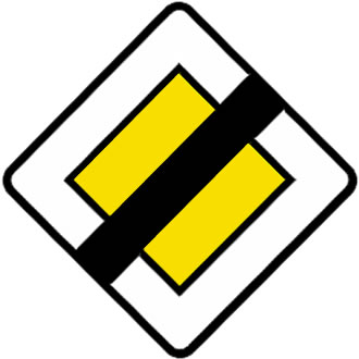 French yellow diamond road sign - give way to the right