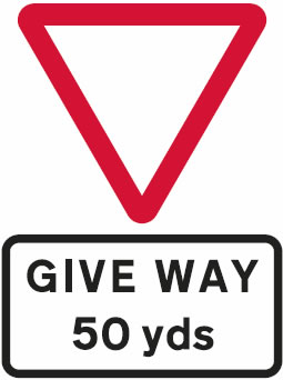 Give way 50 yards junction sign