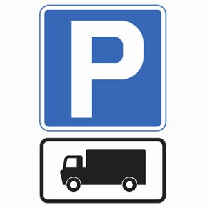 Goods vehicle parking sign