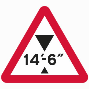 Height restriction warning sign with imperial units