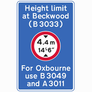 Location of mandatory height restriction sign