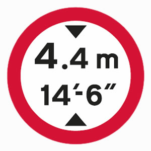 Regulatory low bridge sign in metres sign