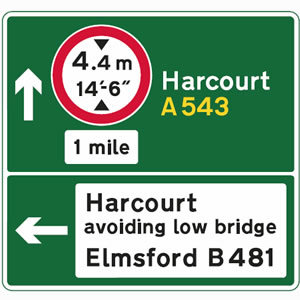 Directional sign with height restriction road sign