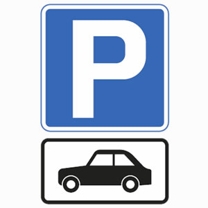 Motor car parking sign