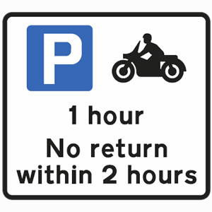 Free parking for motorcycles only, for one hour only sign