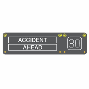 Motorway accident ahead sign
