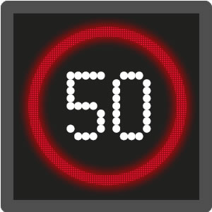 Mandatory motorway speed limit sign / signal
