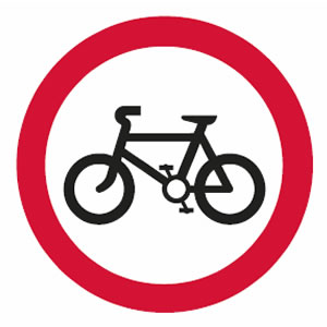 No cyclists sign