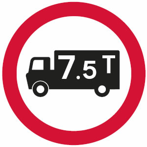 No goods vehicles over maximum gross weight shown in tonnes sign