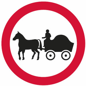 No horse-drawn vehicles sign