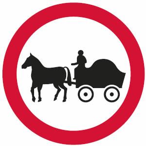 No horse-drawn vehicles sign