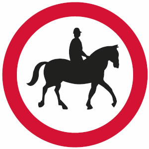 No ridden or accompanied horses sign