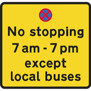 No stopping except buses sign