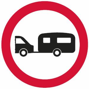 No towed caravans sign