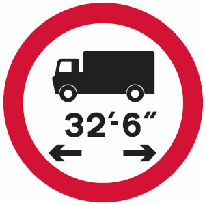 No vehicles or combinations of vehicles over maximum length shown sign