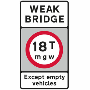 Weak bridge road sign