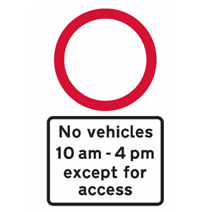No vehicles at specified times sign