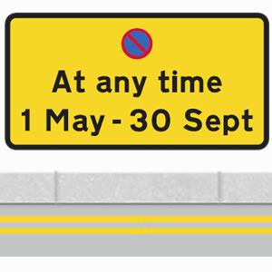 No waiting sign with a double yellow line