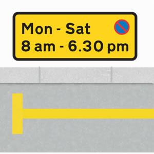 No waiting sign with a single yellow line