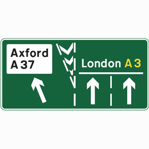 Dual carriageway non-primary route exit sign