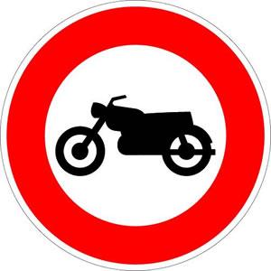 Panneau accès interdit aux motocyclettes et motocyclettes légères