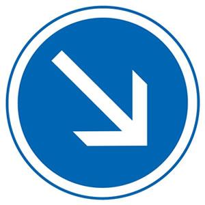 Panneau contournement obligatoire par la droite