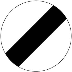 Panneau fin de toutes les interdictions précédemment signalées, imposées aux véhicules en movement