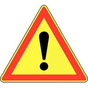 Panneau temporaire de signalisation de danger