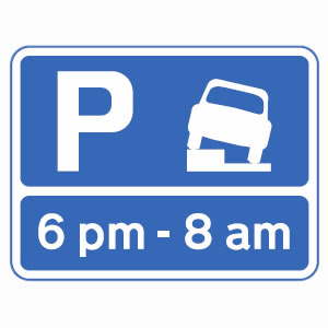 Vehicles may park partially on verge or pavement during times shown sign